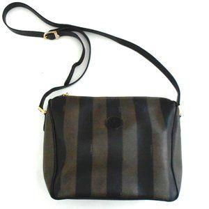 vtg FENDI Pequin stripe Shoulder Bag handbag
